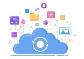 Abbildung des Cloud-Speicherdienstes für Hosting oder Rechenzentrum, Herunterladen, Hochladen, Verwalten und Technologie von Online-Dateien vektor