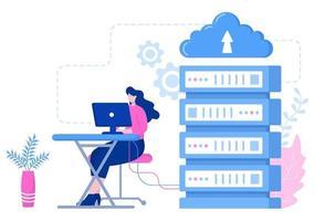 Computer Cloud Server Hosting Speicher Illustration der Datenübertragungstechnologie und Schutz mit Administrator oder Entwicklerteam vektor