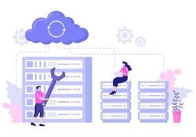 Private Illustration der Datenwolke für den Zugriff auf Hosting oder Datenbank- und Datenschutz. Geschäftskonzept des Internet-Cyber-Sicherheitsschilds vektor