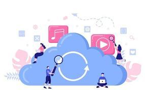 Cloud-Datenspeicher-Hosting-Forschungsillustration für Informationsdatenbankstatistik und Suchanalyse vektor