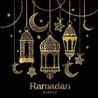 gratulationskort ramadan kareem design med lampor och månar. vektor