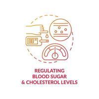 Regulierung des Blutzucker- und Cholesterinspiegel-Konzeptsymbols vektor
