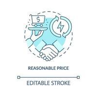 rimligt pris koncept ikon vektor