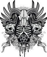 gotisches Zeichen mit Schädel, Grunge Vintage Design T-Shirts vektor