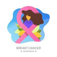 Flat Bröstcancer Medvetenhet Ribbon Med Bakgrund Vector Illustration