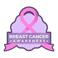 Flaches Brustkrebs-Bewusstseinsabzeichen Social Media-Vektor-Hintergrund-Schablone