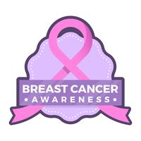 Flat Breast Cancer Awareness Badge Social Media Vector Bakgrundsmall