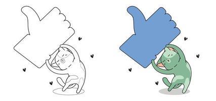 Katze mit großen gemochten Symbol Cartoon Malvorlagen vektor