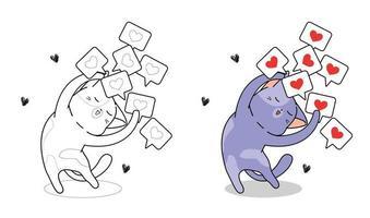 Katze mit vielen Herzikonen-Cartoon-Malvorlagen vektor