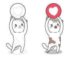 Katze mit Herzikone Cartoon Malvorlagen vektor