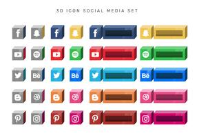 3D Boxed Social Media Icon Set Vector