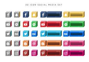 3D Boxed Social Media Icon Set Vector
