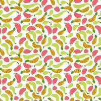 nahtloses Muster mit Früchten. Ananas, Birne und Apfel. saftige Früchte. endlose Textur vektor