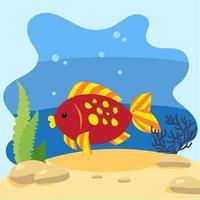 niedlicher Fisch auf dem Hintergrund der Seelandschaft. isolierte Vektorillustration im Meeresboden. Designkonzept mit Meeressäugetier. Cartoon-Stil vektor