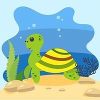 süße Schildkröte auf dem Hintergrund der Seelandschaft. isolierte Vektorillustration im Meeresboden. Designkonzept mit Meeressäugetier. Cartoon-Stil vektor