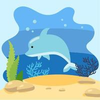 niedlicher Delphin auf dem Hintergrund der Seelandschaft. isolierte Vektorillustration im Meeresboden. Designkonzept mit Meeressäugetier. Cartoon-Stil vektor