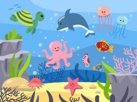 Meeresboden mit Säugetieren, Unterwasserwelt. Tiere des Meeres. Hintergrund im Cartoon-Stil. Vektorillustration. Meerestiefe vektor
