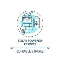 Konzeptikone für solarbetriebene Resorts vektor