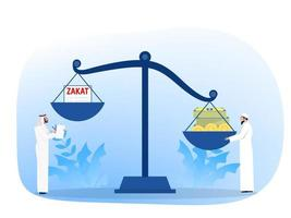 muslimisches Pay-Zakat-Konzept. muslimische Gesetze und Vorschriften Finanzberater Gerechtigkeit. flache Karikaturvektorillustration vektor