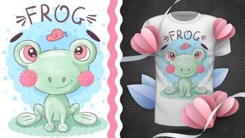 entzückender Zeichentrickfiguren-Tierfrosch vektor