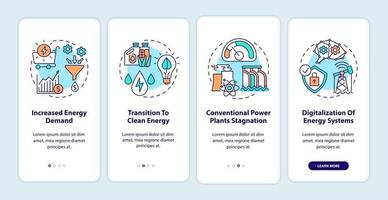 energibranschens trender ombord mobilappsskärm med koncept vektor