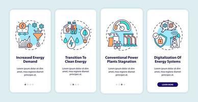 Trends in der Energiebranche Onboarding des Bildschirms für mobile App-Seiten mit Konzepten vektor