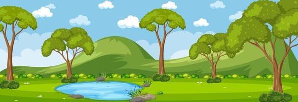 horizontale Waldszene tagsüber mit vielen Bäumen vektor