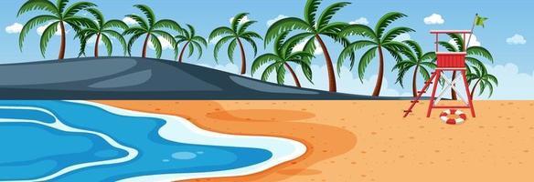Strand horizontale Szene zur Tageszeit mit vielen Palmen vektor