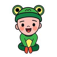 Vektor niedlichen Cartoon des Jungen, der ein Froschkostüm trägt. er sitzt und lächelt glücklich.
