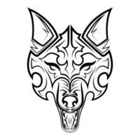 Schwarzweiss-Linienkunst des Wolfskopfes. Gute Verwendung für Symbol, Maskottchen, Symbol, Avatar, Tattoo, T-Shirt-Design, Logo oder jedes gewünschte Design. vektor