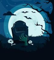 halloween bakgrund, inbjudan. kyrkogård med zombiehand, fullmåne, träd, läskig natt. vektor