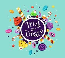 Süßes oder Saures. Satz Halloween-Süßigkeiten und Bonbons. Vektorillustration im flachen Stil. vektor
