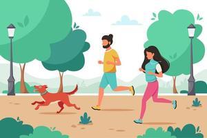 man och kvinna som joggar i parken med hund. utomhusaktivitet, hälsosam livsstil. vektor illustration