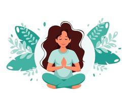 kvinna som mediterar på lämnar bakgrund. hälsosam livsstil, yoga, meditation, koppla av, rekreation. vektor illustration.