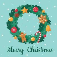 Frohe Weihnachten Karte. süßer Weihnachtskranz. Vektorillustration. vektor