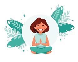 liten flicka som mediterar. barns hälsosamma livsstil, yoga, meditation, motion. vektor illustration.