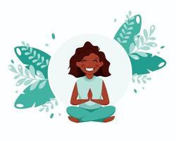 liten svart flicka mediterar. barns hälsosamma livsstil, yoga, meditation, motion. vektor illustration.
