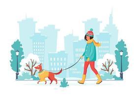 kvinna som går med hund i vinterstad. vektor illustration