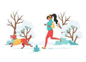 kvinna som joggar med hund på vintern. utomhusaktivitet. vektor illustration