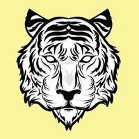 tigerhuvud detaljerad stil vektor