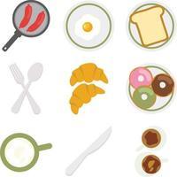 Frühstücksmaskottchen flaches Designvektorset vektor