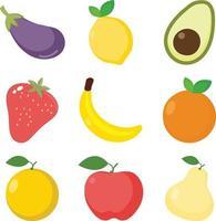 Früchte flaches Design Vektorsatz vektor