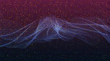 mörk violett digital ljudvåg på teknikbakgrund vektor