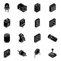 elektriska och komponenter isometrisk ikonuppsättning vektor