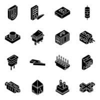 moderna elektroniska apparater isometrisk ikonuppsättning vektor