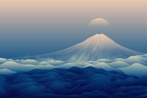 blauer Berglandschaftshintergrund vektor