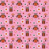 söt uggla och svamp sömlös rosa orange vektor mönster