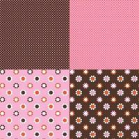 sömlösa rosa orange bruna prickar och mod daisy vektormönster vektor