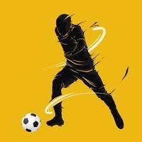 fotboll fotboll boll poserar mörk flamma siluett vektor