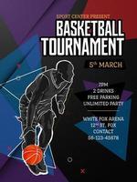 basket turnering affisch mall vektor